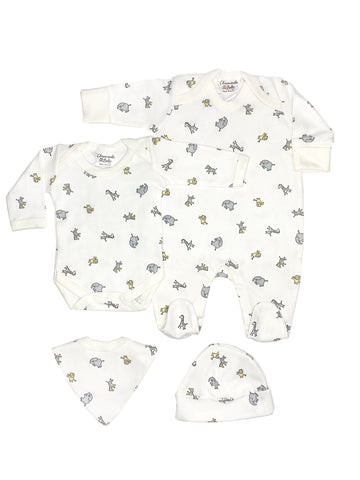 Jungle Gift Set: Sleepsuit, Bodysuit, Hat & Bib (Newborn)