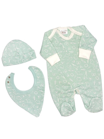 Forest Friends Gift Set: Sleepsuit, Hat & Bib (Newborn)