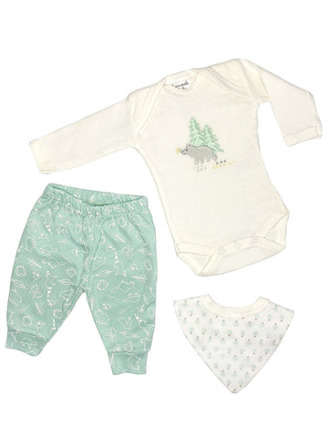 Forest Bear Gift Set: Sleepsuit, Trousers & Bib (Newborn)