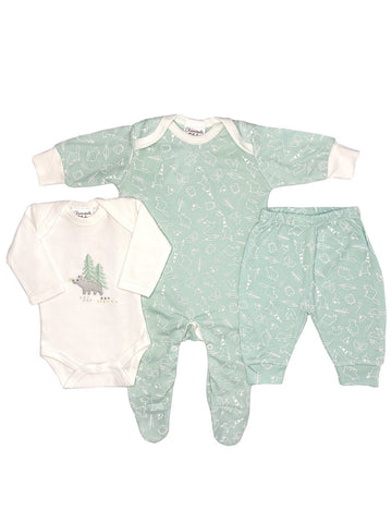 Forest Bear Gift Set: Sleepsuit, Bodysuit & Trousers (0-3 months)