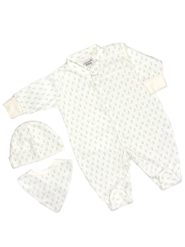 Apple Print Gift Set: Sleepsuit, Hat & Bib (Newborn & 0-3 months)