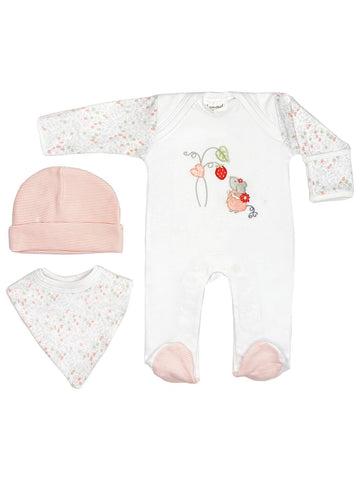 Flower Mouse Gift Set: Sleepsuit, Hat & Bib (Newborn)