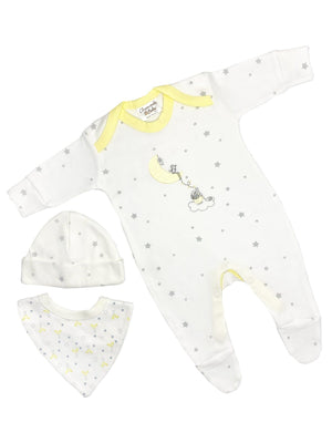 Starry Gift Set: Sleepsuit, Bib & Hat (Newborn & 0-3 months)