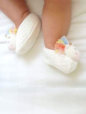 Crochet Rainbow Unicorn Booties (0-6 Months)