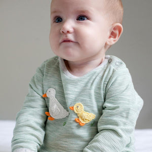 Green Stripe & Crochet Ducks Babygrow, Albetta (0-3 Months)