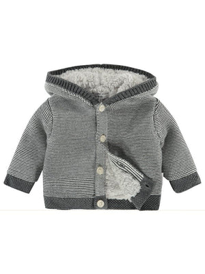 Charcoal Knitted Fluffy Lined Cardigan/Coat - Organic Cotton (0-1 months)
