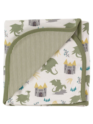 Green & White Dragon Print Blanket by Pigeon Organics