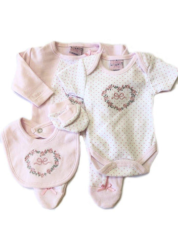 Pink Floral 4 Piece Gift Set Sleepsuit, mitts bib & hat 3-5lbs & 5-8lbs