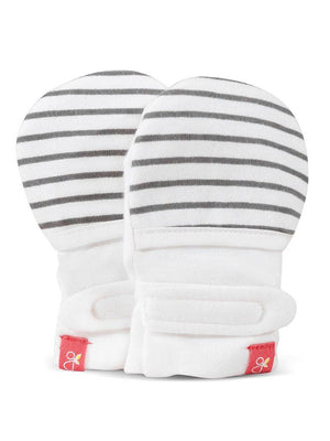 Stay On Anti-Scratch Mittens - Black & White Stripe (0-3 Months)