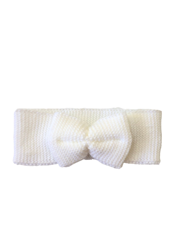 Tiny Baby Knitted Headband with Bow (White 5-8lbs)