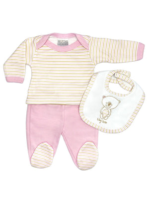 'Tiny Bear' Pink Stripe 3 Piece Set (3-5lb & 5-8lbs)