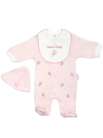 'Sweet as Candy' Pink 3 Piece Sleepsuit, Bib & Hat Set (3-5lb & 5-8lbs)