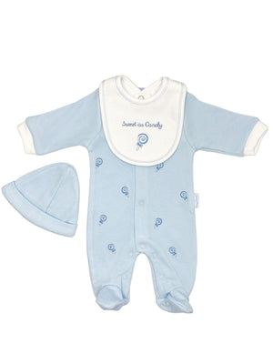 'Sweet as Candy' Blue 3 Piece Sleepsuit, Bib & Hat Set (3-5lb & 5-8lbs)