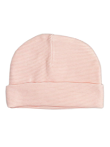 Coral Red Stripe Hat (Newborn)