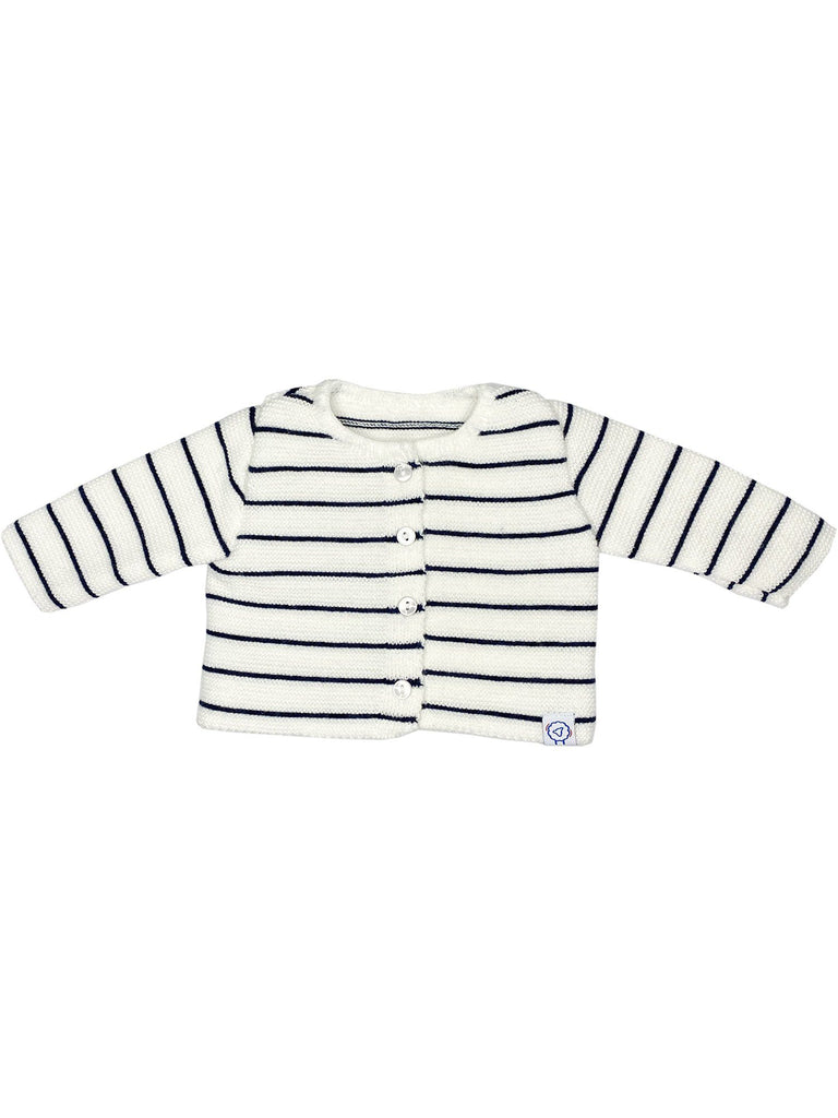 Knitted Breton Stripe White Cardigan (Tiny Baby & 0-3 months)