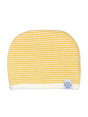 Tiny Baby Knitted Hat - Yellow Stripe (6-9lbs)