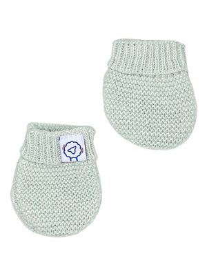 Tiny Baby Grey Mint Knitted Gloves/Mittens, 4-7.5lbs