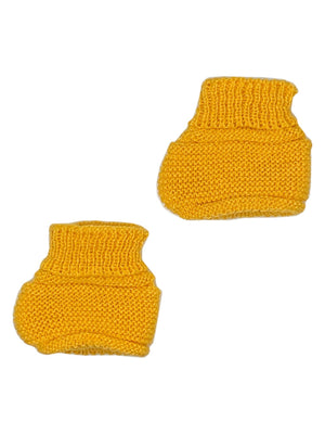 Tiny Baby Mustard Yellow Knitted Booties, 4-7.5lbs