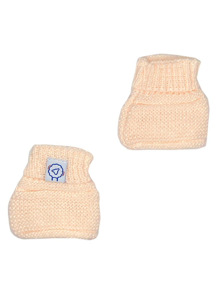 Tiny Baby Peach Pink Knitted Booties, 4-7.5lbs