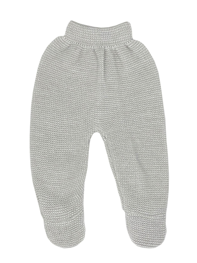 Tiny Baby Grey Knit Footed Leggings, 5-8lbs