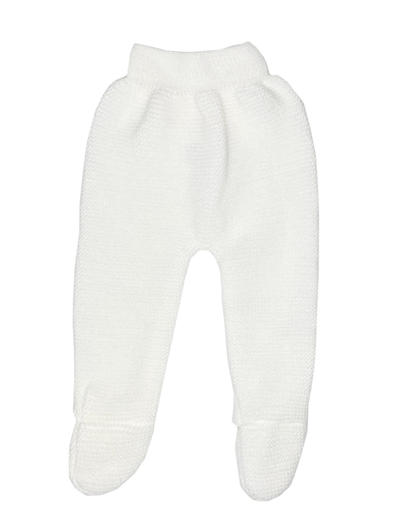 Tiny Baby White Knit Footed Leggings, 5-8lbs