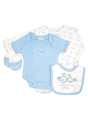Blue Whale 4 Piece Gift Set: Sleepsuit, vest, mitts & bib (3-5lbs & 5-8lbs)