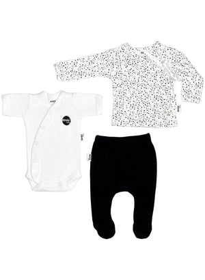 Speckles Print 3 Piece Set (Top, Leggings & Vest), 4lb-6lb