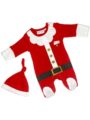 Christmas Santa Outfit - Footed Sleepsuit & Knotted Hat (3-5lbs & 4-7lbs)