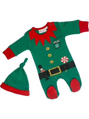Christmas Elf Outfit - Footed Sleepsuit & Knotted Hat (3-5lbs & 4-7lbs)