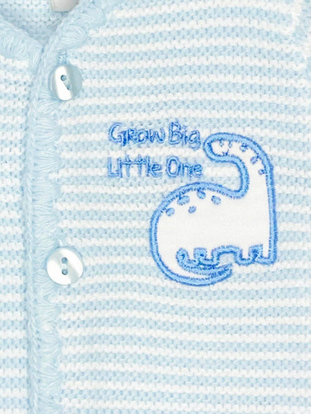 "Blue ""Grow Big Little One"" Scallop Detail Cardigan 3-5lbs & 5-8lbs"