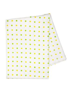 Yellow and Green Spotty Bamboo Organic Muslin - 70cm x 70cm