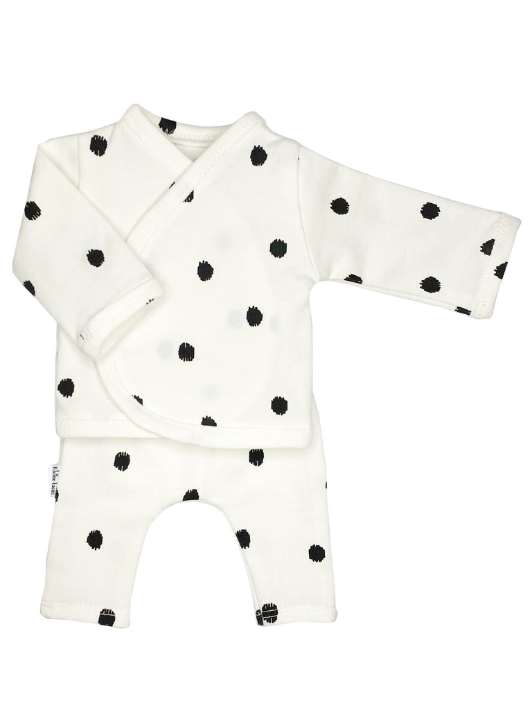 Wrap Shirt & Trouser Set, Big Black Dots (3-5lb)