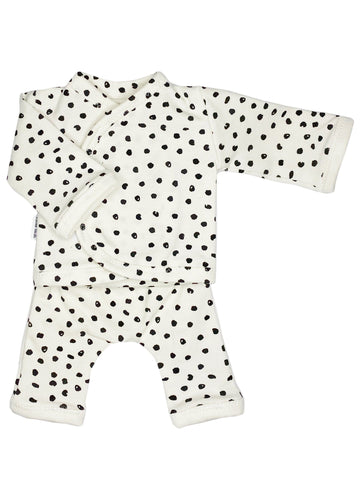 Wrap Shirt & Trouser Set, Monochrome Dot 1.5-3lb & 3-5lb