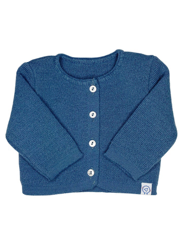 Knitted Azure Blue Soft Cardigan (Tiny Baby & 0-3 months)