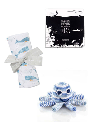 High Contrast Book, Crochet Octopus Toy & Whale Muslin - Gift Set