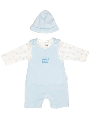'Little Love' Blue Polkadot Set: Dungarees, Top & Hat (3-5lb & 5-8lbs)