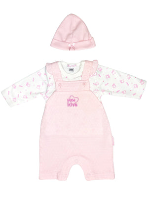 'Little Love' Pink Polkadot Set: Dungarees, Top & Hat (3-5lb & 5-8lbs)