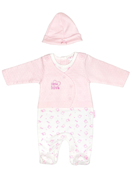 'Little Love' Pink Polkadot Cardigan Sleepsuit & Hat (3-5lb & 5-8lbs)