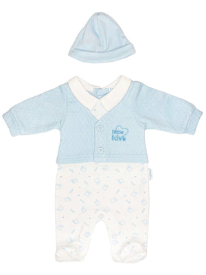 'Little Love' Blue Polkadot Cardigan Sleepsuit & Hat (3-5lb & 5-8lbs)