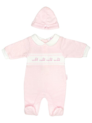 'Little Love' Pink Polkadot Sleepsuit & Hat Set (3-5lb & 5-8lbs)
