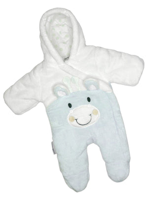 1 Tiny Baby Snow Suit, Giraffe, Sky Blue (5-8lb)