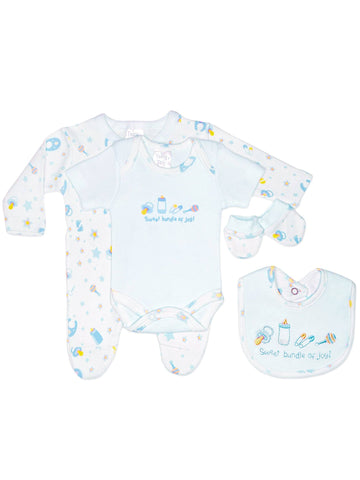 Bundle of Joy 4 Piece Gift Set: Sleepsuit, vest, mitts & bib - Blue (3-5lbs & 5-8lbs)