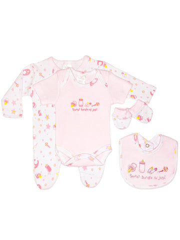 Bundle of Joy 4 Piece Gift Set: Sleepsuit, vest, mitts & bib - Pink (3-5lbs & 5-8lbs)