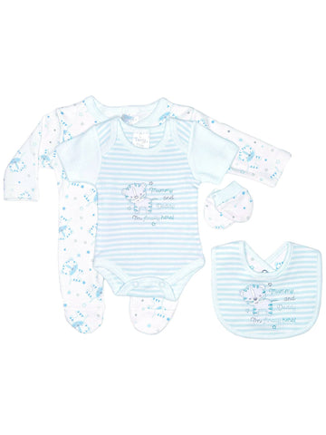 Tiger 4 Piece Gift Set: Sleepsuit, vest, mitts & bib - Blue (3-5lbs & 5-8lbs)