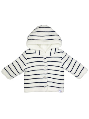 White Knitted Jacket with Breton Stripe (Tiny/Newborn & 0-3 Months)
