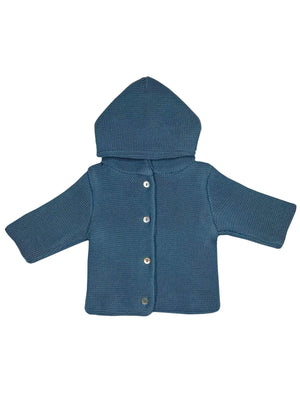 Slate Blue Knitted Baby Jacket (Tiny/Newborn & 0-3 Months)