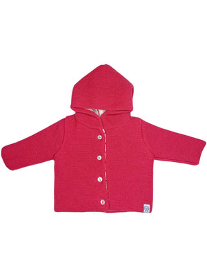 Pink Knitted Jacket with Inside Breton Stripe (Tiny/Newborn & 0-3 Months)