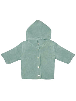 Grey Mint Knitted Baby Jacket (Tiny/Newborn & 0-3 Months)