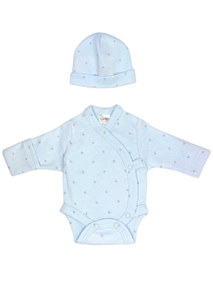 Blue with Star Print Hat & Bodysuit Gift Set - Size 3-5lb