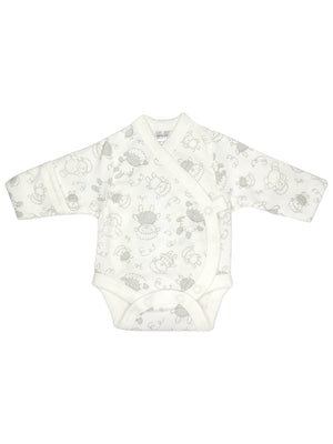 Early Baby Bodysuit - White with Sheep Print (3-5lbs)